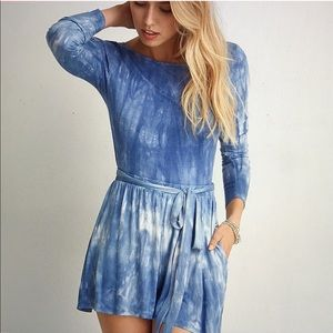 American Eagle | Blue Tie Dyed Long Sleeve Romper
